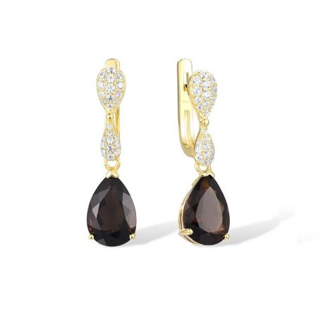 Purple and Smoky Quartz Gold toned Sterling Silver Drop earrings