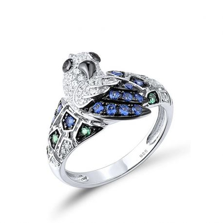 White/Blue CZ Green/Black Spinel Parrot Rings Pure 925 Sterling Silver