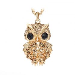 Gold & Platinum plated Owl Long Chain Sweater Pendant necklace
