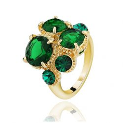Green and Blue Austrian Rhinestone Gold Plated Cocktail Ring