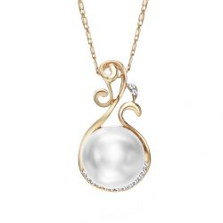 Czech Rhinestone Simulated Pearl Pendant Necklaces