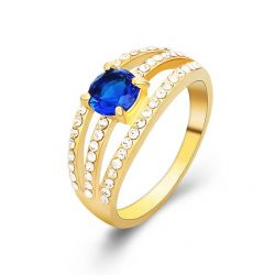 Multi Layered Zircon Fashion Blue & Green Color Ring