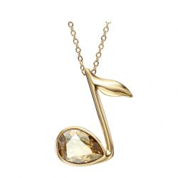 Music Note Pendant Necklace for Women Austrian Crystal 14k Gold Plated