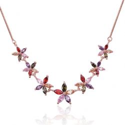 Rose Gold Plated Flower Chain Necklaces For Beautiful Girls