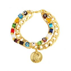 Multi Layer Bangles Gold plated Bead Chain Bracelet