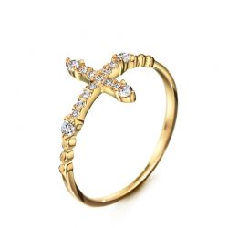 Rose Gold Plated Cross Style Rhinestone Fashion Ring for women