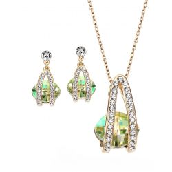 Green Color Austrian Crystal Rhinestone Jewelry Sets