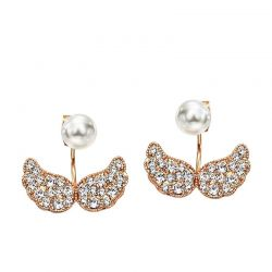 Simulated Pearl Rose Gold Plated Rhinestone Fashion Double Stud Earrings