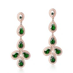 Green Zircon Austrian Rhinestone Simulated Pearl Long Dangle Earrings