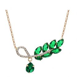 Leaf Style Czech Rhinestone Rose Gold Plated Green Zircon Necklace Pendant