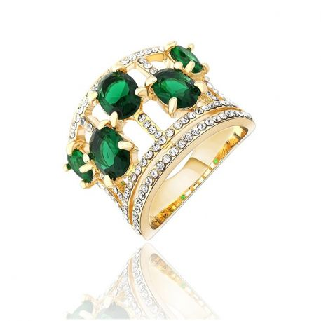 Gold Plated AAA+ Grade  Zircon Ring with Austrian Rhinestone