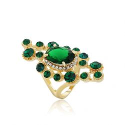 Gold Plated Fashion Jewelry for  Women Green Zircon