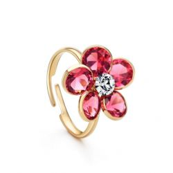 Zircon Red Sunflower Gold Plated Free size Ring for Girls