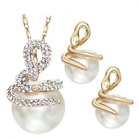 Snake Necklaces Earrings Rhinestone Simulated Pearl Jewelry Sets