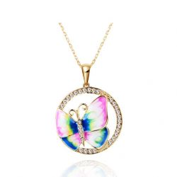 Enamel Lovely Butterfly Necklaces Fashion Jewelry necklace