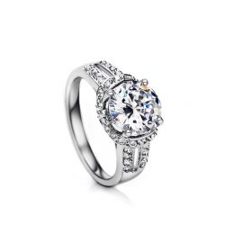 Engagement Wedding Ring Diamond Cubic Zircon Platinum Plated