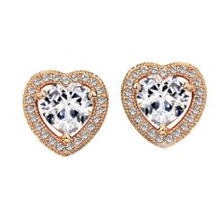 AAA Zircon Rose Gold Plated Stud Fashion Earrings for Women
