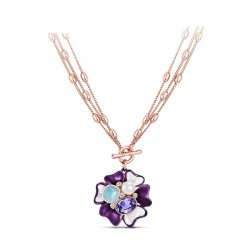 Fashion Jewelry Rose Gold Plated Flower Pendant Necklace