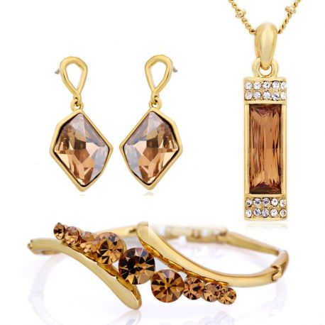 Yellow Color MADE WITH SWAROVSKI ELEMENTS Jewelry Set