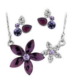 Flower Style Platinum Plated Fashion Purple Color Crystal Fashion Jewelry Set