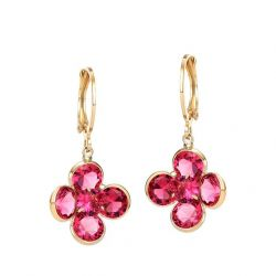 Zircon Red Sunflower Gold Plated Beautiful Earring for Girls