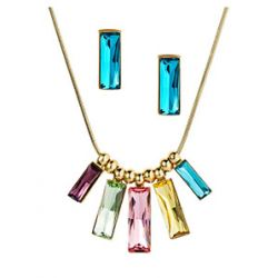14K Gold Plated Multicolor MADE WITH SWAROVSKI ELEMENTS Crystal Jewelry Set