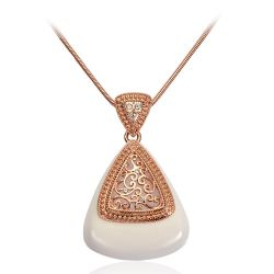 Rose gold plated Enamal Stone Austrian Rhinestone Necklace pendant