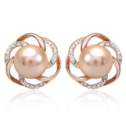 White and  Cream Faux Pearl Crystal Stud Earrings For Women Rose gold plated
