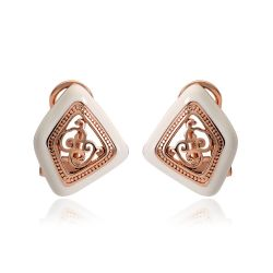 Rose Gold Plated Stud Earrings for Vintage Double Earrings