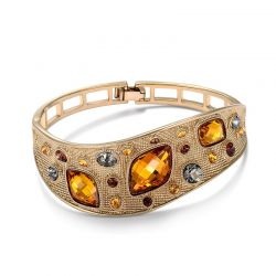 Top Austrian Rhinestone Orange Crystal Coffe Gold plated bangle for Women
