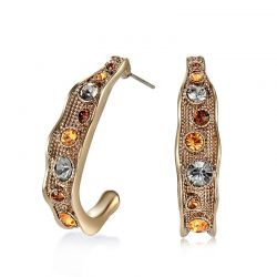 Top Austrian Rhinestone Vintage Semicircle Earrings  Fashion Jewelry Coffee Gold Plated
