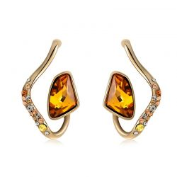 Gold Plated Orange Crystal Top Austrian Rhinestone Earrings