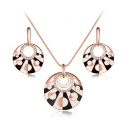Rose Gold Plated Alloy Round Earrings & Pendant Necklace