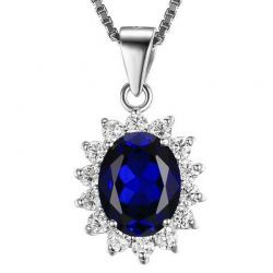British Kate Princess Diana William Engagement Wedding Blue Sapphire Pendant
