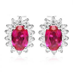 Red Ruby Stud Earrings  Pure Solid 925 Sterling Silver