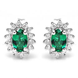 Nano Russian Emerald Stud Earrings Pure Solid 925 Sterling Silver