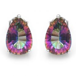3.8ct Genuine Rainbow Fire Mystic Topaz Classics  Stud Earring for Women
