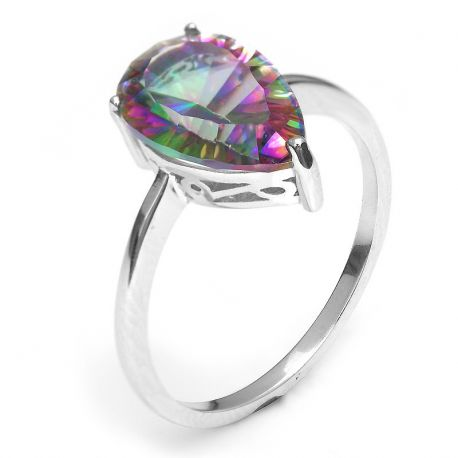 S925 Sterling Silver 3ct Natural Genuine Rainbow Fire Mystic Topaz Ring