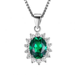 Silver Pendant Necklace Nano Russian Emerald Pure Solid 925 Sterling Silver