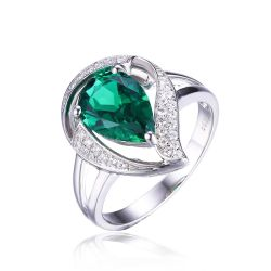 925 Sterling Silver Nano Russian Emerald Ring Free shipping