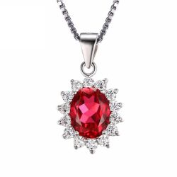 Princess Diana William Engagement Wedding Pigeon Blood Red Ruby Pendant necklace