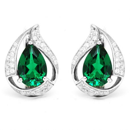 925 Sterling Silver Nano Russian Emerald Earrings Free shipping
