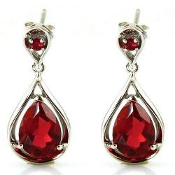 Red Ruby Drop Earrings Dangle Genuine 925 Sterling Silver