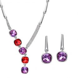 MADE WITH SWAROVSKI ELEMENTS Rhinestone Jewelry Sets Necklace Earrings