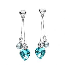 Austrian Crystal Rhinestone Long Tassel Heart Love Dangle Drop Earrings
