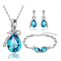 Water Drop Design Necklace & Earring & Bracelet Austria Crystal & Rhinestone Jewelry Set