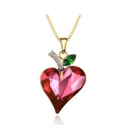 Love Heart Necklace Pendants For Girl Austrian Crystal Rhinestone
