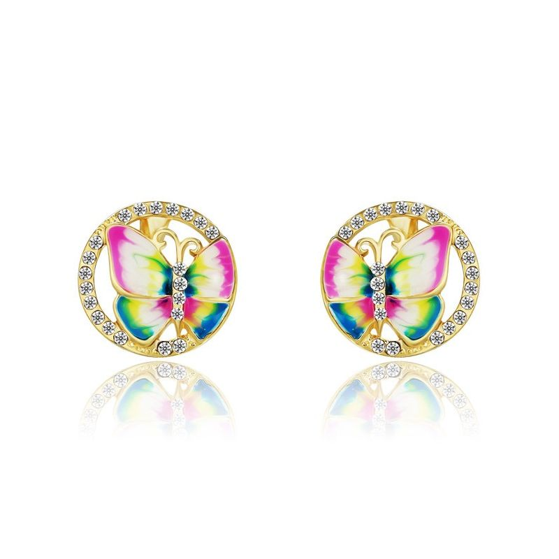 Enamel Butterfly Charm Cute Stud Earring For Teen Girl