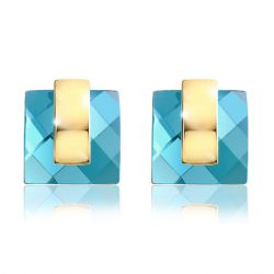 Blue Crystal Rhinestone Square Fashion Stud Earrings