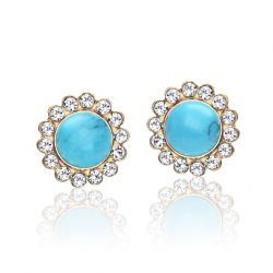 Blue turquoise Czech Rhinestone Stud Earrings for Women